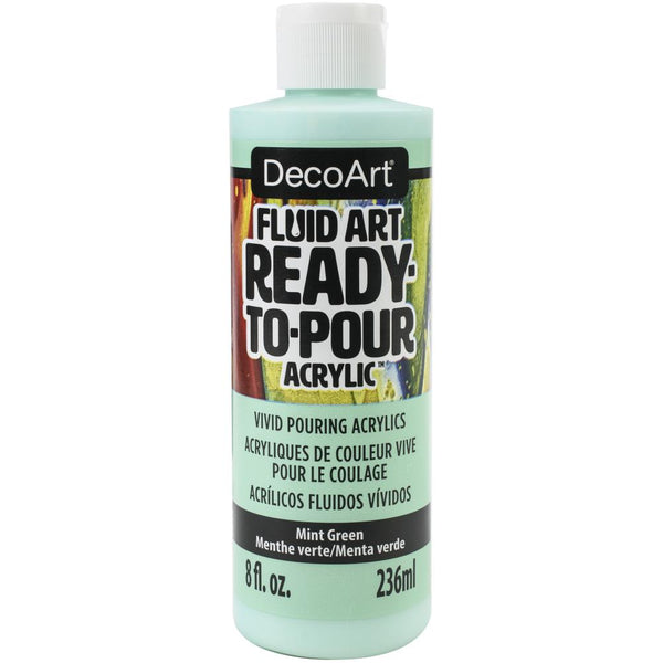 DecoArt FluidArt Ready-To-Pour Acrylic Paint Mint Green 8oz