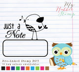 Just a note Pre-inked Stamp, a little reminder note for the important stuffs • Teacher Stamp • Reminder Stamp • Organize Planner Stamp ♥ OOAK Original bird illustration designed by me ♥