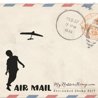 Airmail Air mail pre-inked stamp for snail mail and letters