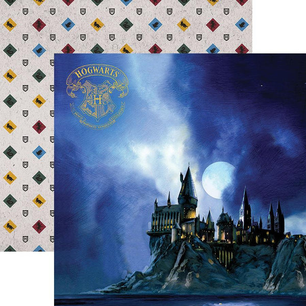 This Hogwarts at Night double sided paper features one of the most iconic scenes of the series- the students' first glimpse of the Hogwarts castle! Add it to your magical memories of trips, movie theater or library visits, or flip the paper over and feature the house colors and mascots!