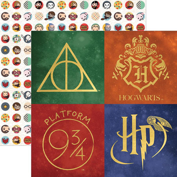 The Harry Potter series is chock-full of icons and symbols, and this paper shows off a few of them in exquisite gold foil detail. As a fun added bonus, there are adorable Chibi Harry Potter characters in a pattern on the reverse side! Plenty of options for fun, crafty, magical uses!