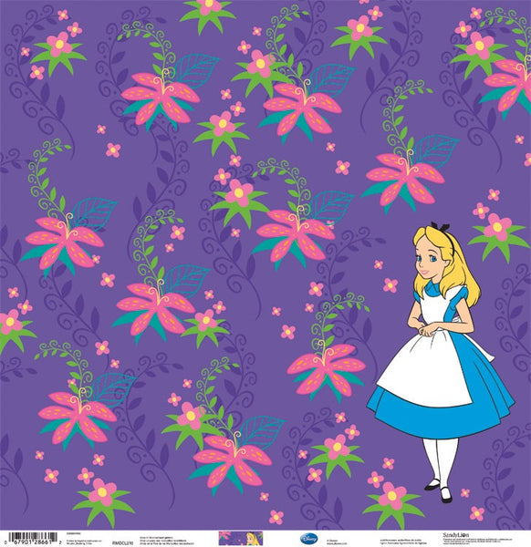 "Alice In Wonderland Glitter Paper Scrapbook Paper 12""x 12"""