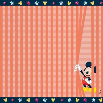 "Mickey Stripes Scrapbooking Paper 12""x 12""  Made in the USA  Acid & Lignin Free"