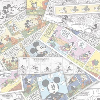 "Disney Ephemera Comic Stripes Mickey Mouse, Minnie Mouse Scrapbooking Paper 12""x 12""  Made in the USA  Acid & Lignin Free"