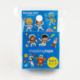 Space Round Top Masking Tape • Tips Die-Cut Tape Character Series
