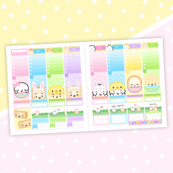 Springtime Bunnies Sticker Kit (Weekly Vertical)