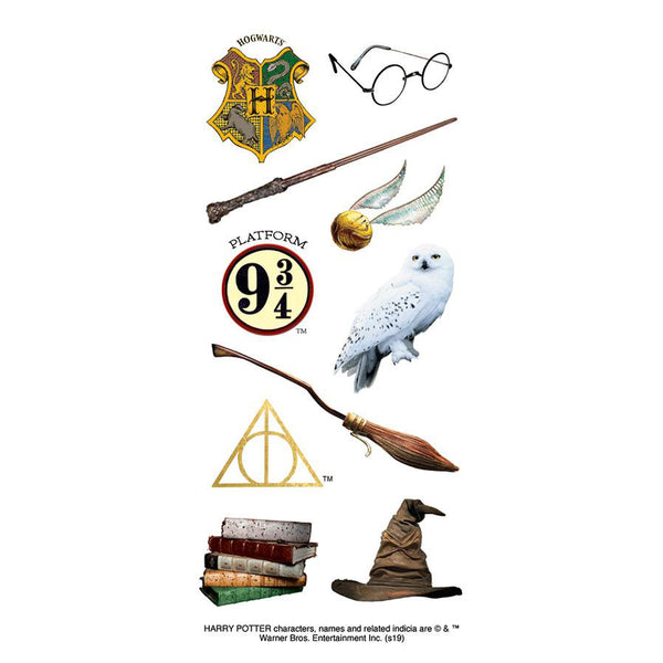 Many of the iconic elements of the Harry Potter series- his glasses, the Golden Snitch, and the Sorting Hat being just a few, are included in this fun sticker. Add in a little bit of magic wherever you choose to use them!