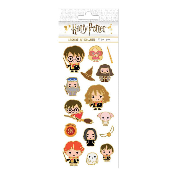 This officially licensed Harry Potter Chibi Characters Faux Enamel sticker is a fun and flashy way to decorate with all of your favorites! Harry, Ron, Hermione and all of their friends are there in fancy gold-lined sticker form!