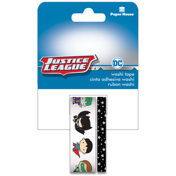 This Justice League Chibi Characters washi tape set has the whole lineup of amazing, superheroes in a fun illustrated style! They're back in action and ready to save the world- or maybe just your project!