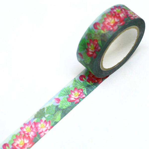 Water Lilies Lotus Flower Japanese Washi Tape SAIEN
