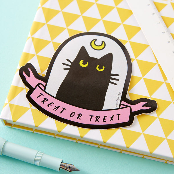 Treat or Treat Cat Laptop Sticker