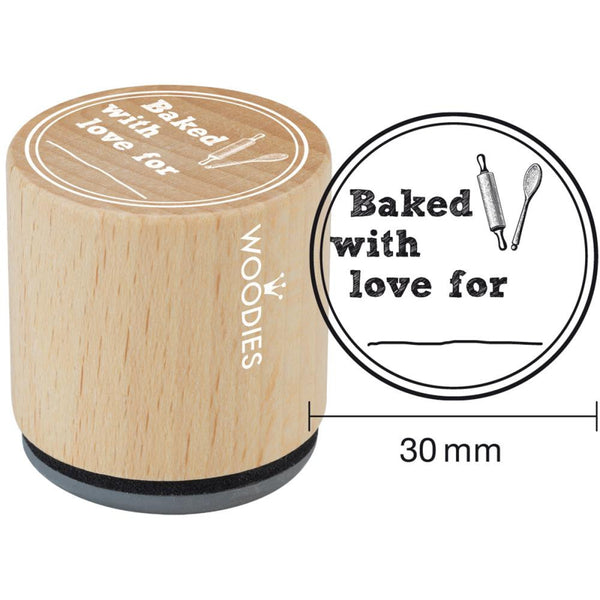 Baked With Love For Woodies Mounted Rubber Stamp 1.35""