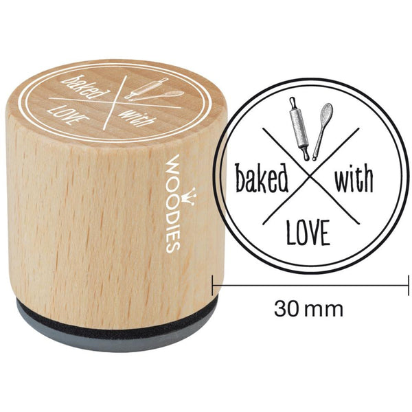 Baked With Love Woodies Mounted Rubber Stamp 1.35""
