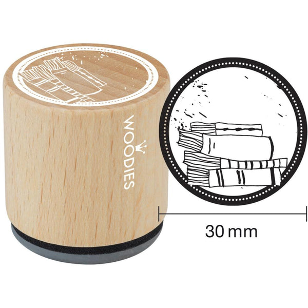 Books Woodies Mounted Rubber Stamp 1.35""