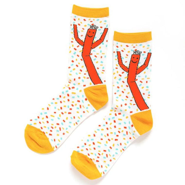 Wacky waving inflatable arm flailing tube man bamboo blend knit socks - Ladies crew socks-