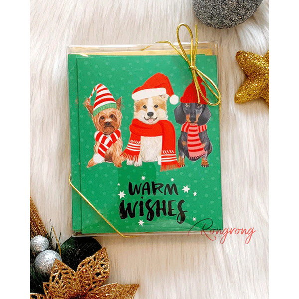 Warm Wishes and Puppy Kisses Greeting Cards! Send a chic season's greeting with this festive card from Rongrong DeVoe! Each card comes with a coordinating gold envelope.