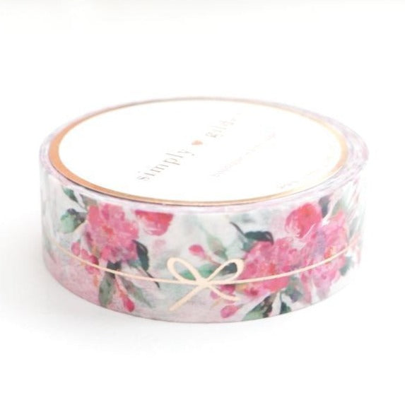 simply gilded WASHI TAPE 15mm - White Floral SIMPLE BOW LINE + ROSE gold foil (January 10 Release)