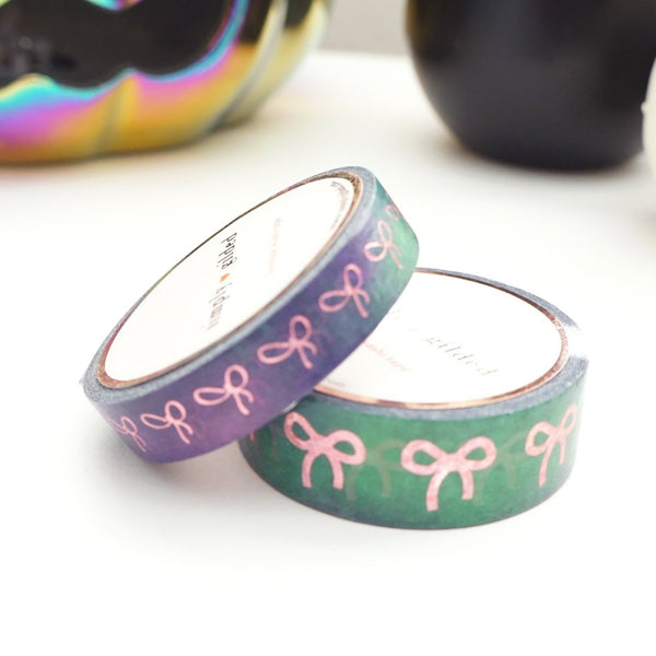 simply gilded WASHI TAPE 15/10mm bow set Witch's Brew watercolor BOW + pink holographic confetti foil (September release)