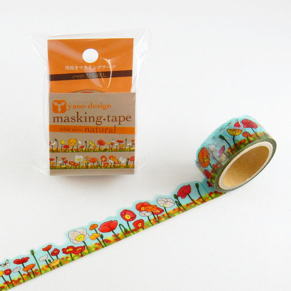 Poppy Flower Round Top Masking Tape • Yano Design Debut Series Natural