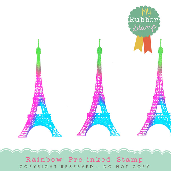 MyRubberStamp Exclusive!! For the first time ever, MyRubberStamp came up with the multicolor ink for pre-inked stamps. Introducing Paris Eiffel Tower Pre-inked Stamp in rainbow inks, original design, proudly made in Houston.