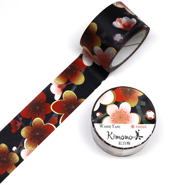 Red And White Ume Kimono Japanese Washi Tape