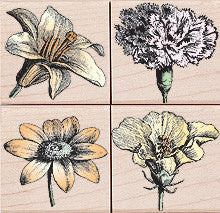Blossom Etchings Rubber Stamp Set