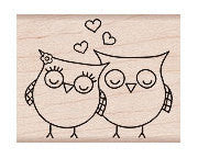Heart Owls Rubber Stamp