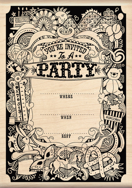Pattern Party Invite Rubber Stamp