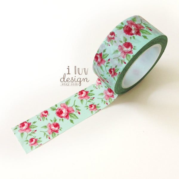 Aqua Antique Floral Washi Tape