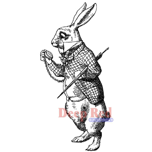 White Rabbit Late Rubber Stamp