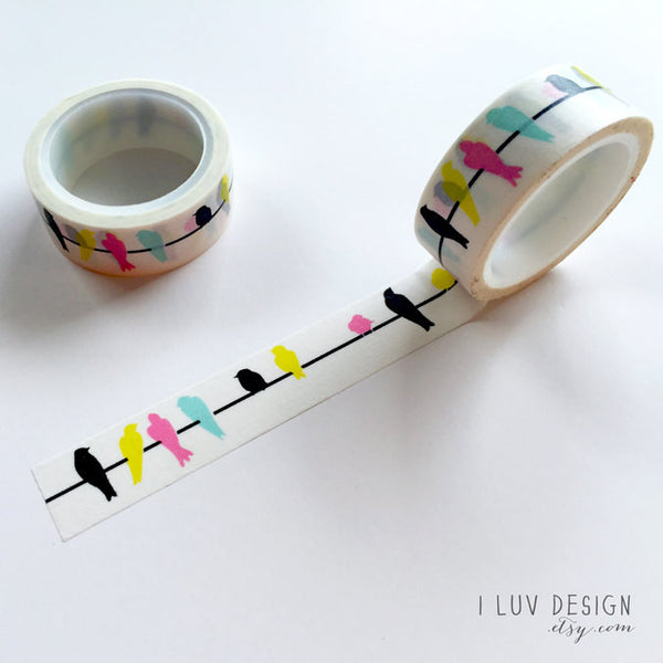 Birds On A Wire Washi Tape • Bird Silhouette Washi Tape
