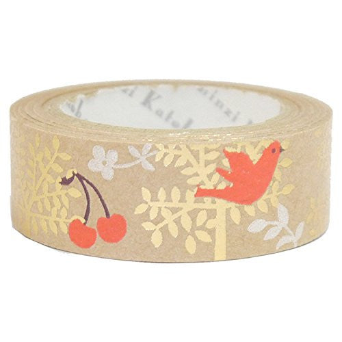 Tree & Birds Kraft Paper Foil Masking Tape • Shinzi Katoh Design Japanese Washi Tape