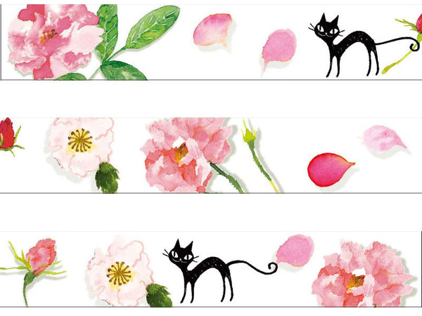 Black Cat & Rose Masking Tape • Shinzi Katoh Design Japanese Washi Tape