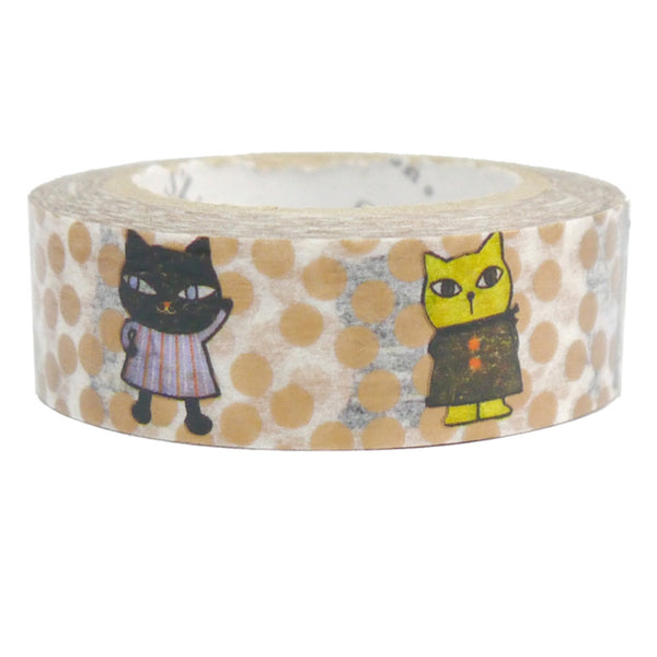 Curious Cat Masking Tape • Shinzi Katoh Design Japanese Washi Tape