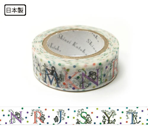 Alphabet Animal Masking Tape • Shinzi Katoh Design Japanese Washi Tape