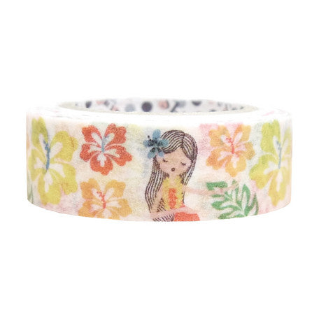 Hula Girl Hibiscus Masking Tape • Shinzi Katoh Design Japanese Washi Tape
