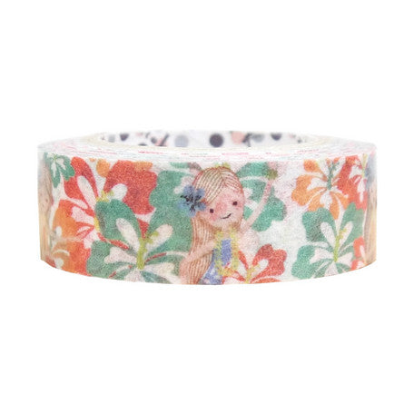 Hula Girl and Hibiscus Masking Tape • Shinzi Katoh Design Japanese Washi Tape