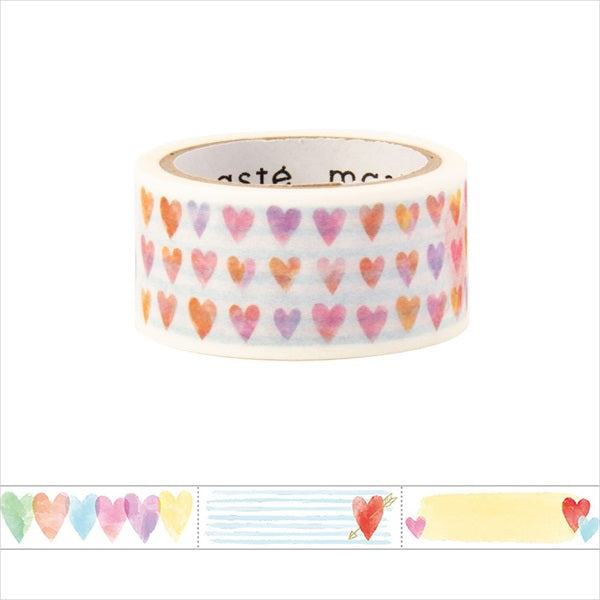 Heart Title Masté Washi Tape for Journal. Use this easy-to-write-on washi tape to add decorative dates to your journal, planner and notebook. Unlike typical washi tape, this tape can be written on with ordinary water-based pens.