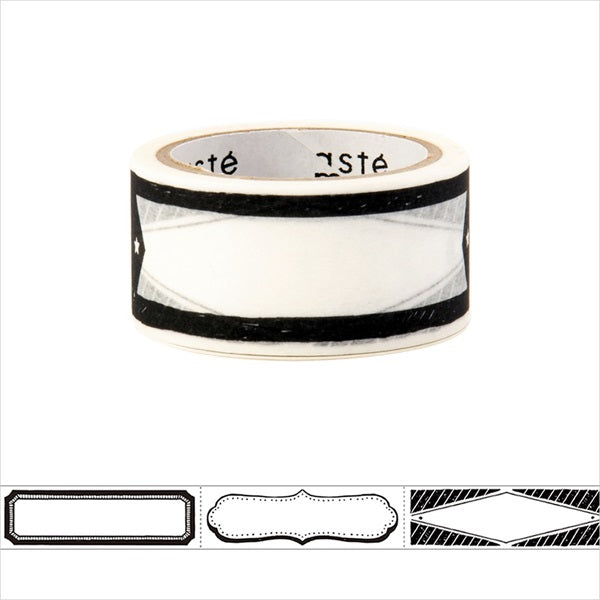 Monochrome Hand Lettering Title Masté Washi Tape for Journal. Use this easy-to-write-on washi tape to add decorative dates to your journal, planner and notebook. Unlike typical washi tape, this tape can be written on with ordinary water-based pens.