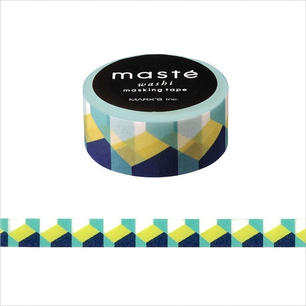 Retro Block Pattern Japanese Washi Tape • Multi Line Masté Masking Tape