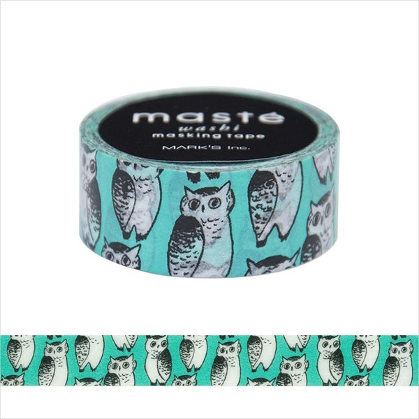 Owl marble SUD Masté Japanese Masking Tape • Drawn with unique and in detail. Made in Japan.