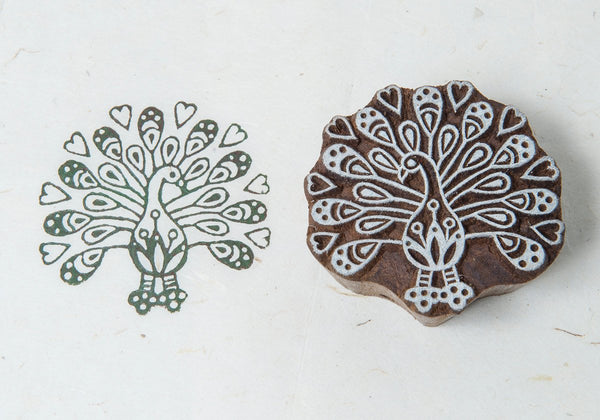 Peacock with Heart Blockwallah Block Stamp