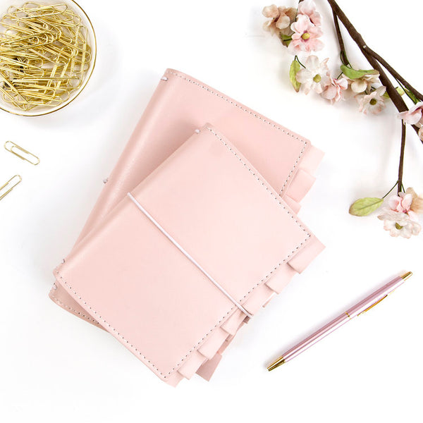 Sophie PTJ Passport Size Prima Traveler's Journal. Sophie is soft and feminine with a flirty little ruffle.