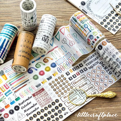 Planner Supplies Stationery Paper Clips Pen Highlighter Watercolor Journal Washi Tape is perfect for all paper projects especially to create journal spread!