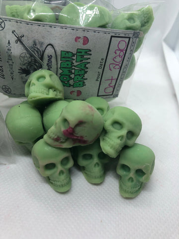 Zombie Breath mini skull wax melts goth horror Halloween witchcraft wicca tarts necromancy