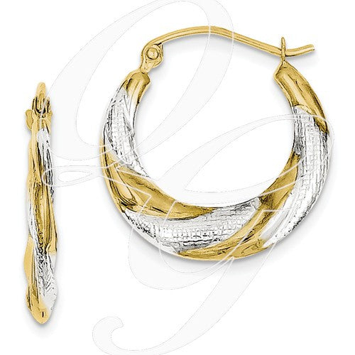 10K & Rhodium Twist Hollow Hoop Earrings