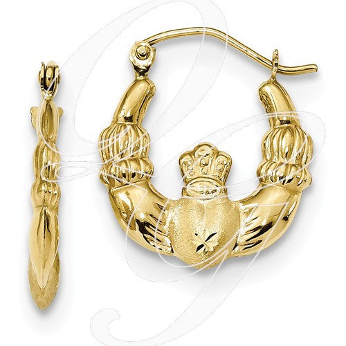 10k Polished & Satin Claddagh Hoop Earrings