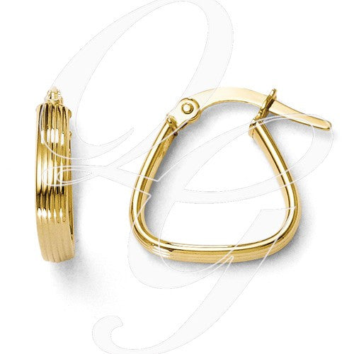 10K Polished And Textured Hoop Earrings