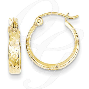 10K D/C Square Tube Hoop Earrings
