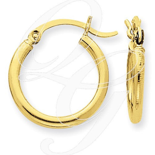 10k Polished 2mm Round Hoop Earrings